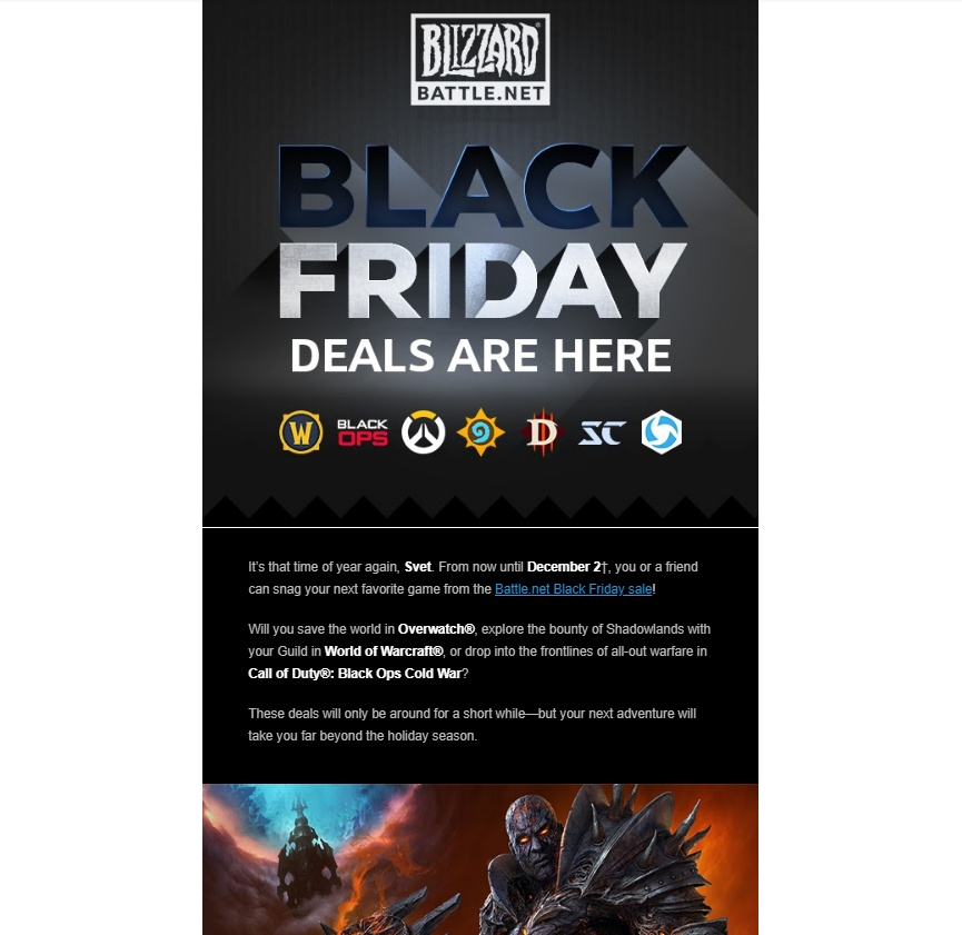 Ecom-style email from Blizzard Entertainment